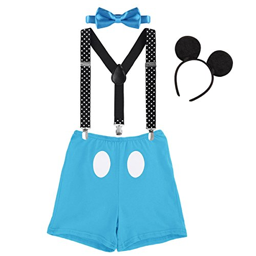 IBTOM CASTLE Baby Boys First Birthday Christmas Costume Cake Smash Outfits Y Back Suspenders Bloomers Bowtie Set Mouse Ear #6 Blue Boxer Pants Outfits 12-18 Months -