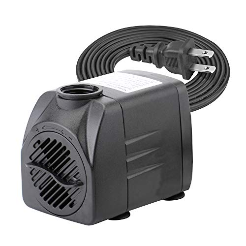 - 400 GPH Submersible Water Pumps for Aquarium, Tabletop Fountains, Pond, Water Gardens and Hydroponic Systems with Two Nozzles, CE-ROHS Approved, 5.9 ft Power Cord