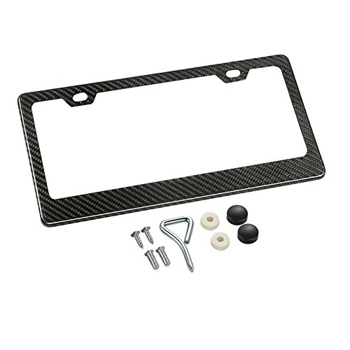 (Karlor 100% Real Carbon Fiber License Plate Frame 2 Holes Black Licenses Plates Frames,Car Licence Plate Covers Holders Slim Design with Chrome Screw Caps Tool Kit for US Vehicles(1PCS))