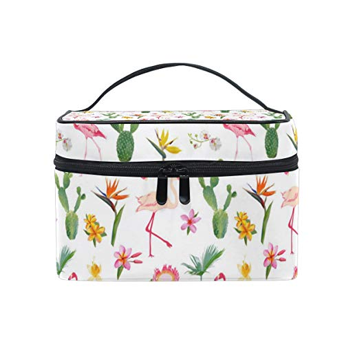 Pink Flamingo And Green Cactus Christmas Gift Retro Cosmetic Bag Light And Easy To Carry Cosmetic Bag Lady Cosmetic Bag Cosmetic Bag Travel Storage Bag