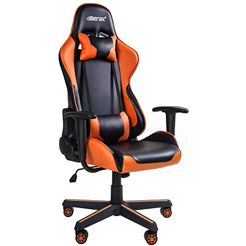 Merax Gaming Chair Office Computer Desk Chair Racing Style High Back PU Leather Chair Swivel Chair with Headrest and Lumbar Support Black and Orange