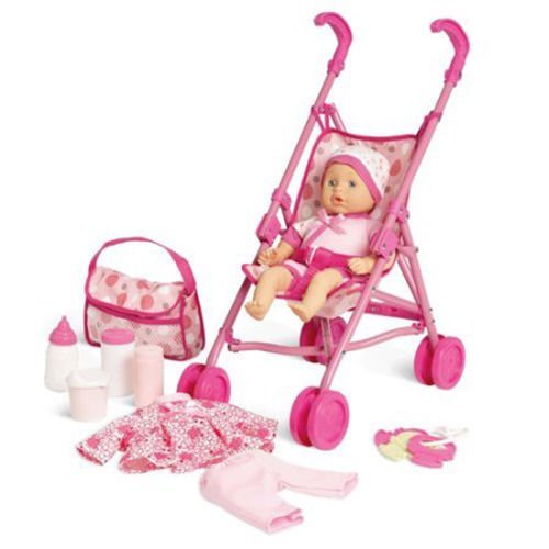Kid Connection Baby Doll Stroller Play Set (Patterns May Vary)