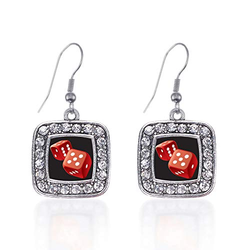 Inspired Silver - Roll The Dice Charm Earrings for Women - Silver Square Charm French Hook Drop Earrings with Cubic Zirconia Jewelry