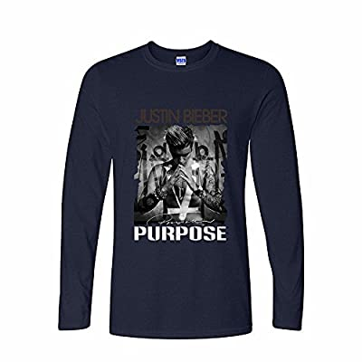 Msone Mens Cotton Long Sleeve T-Shirt Justin Bieber Purpose Art- - Pattern 1