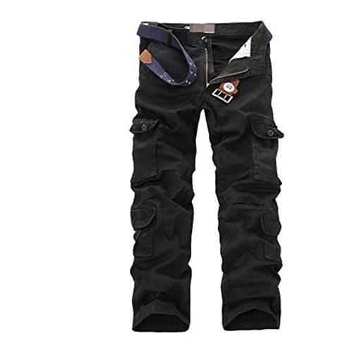 Catwomanfun Fashion Military Cargo Pants Men Loose Baggy Tactical Trousers Oustdoor Casual Cotton Cargo Pants Men Multi Pockets Big Size Black 40