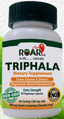 Extra Strength Triphala Vegetarian Capsules with 1200mg per Serving, 306 mg Tannins containing Chebulinic Acid for Colon Cleanse and Detoxification