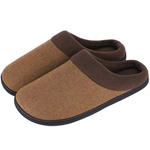 Standing Camel Outdoor Light - HomeIdeas Men's Woolen Fabric Memory Foam Anti-Slip House Slippers, Triple Thickened Sole, Perfect for Autumn and Winter (Large / 11-12 D(M) US, Camel)