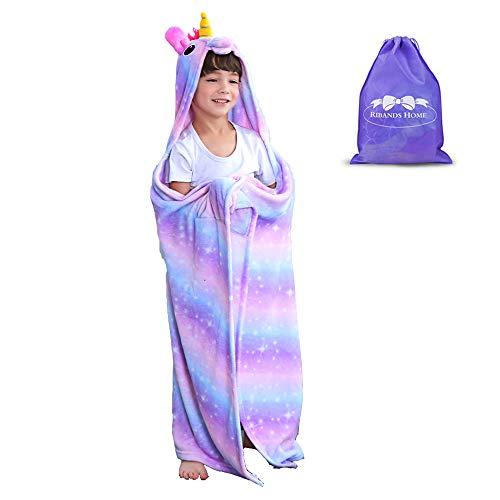 RIBANDS HOME Hooded Unicorn Blanket| Silky Soft Wearable Hoodie Blanket for Kids, Toddlers, Children| Animal Hoodie Cloak, Throw Blanket w/Horn & Mane| Rainbow & Stars Variations - Dreamlike -