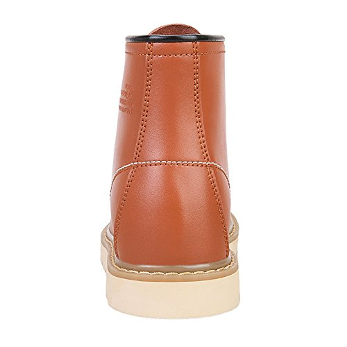Rismart Mens Elegant Dold Häl Hiss Skor Mjukt Äkta Läder Boots Brown