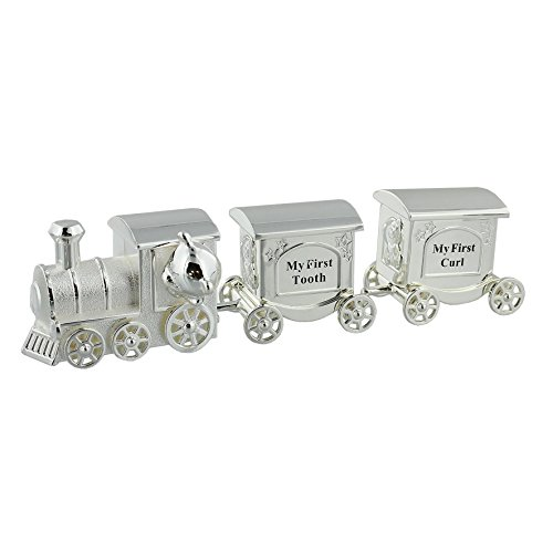 Train Money Box, Tooth & Curl Carriages- Silver Plated Baby Christening Gift