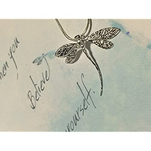 Dragonfly Journey Watercolor Greeting Card and Dainty Sterling Silver Plated Dragonfly Necklace for Encouragement Sales