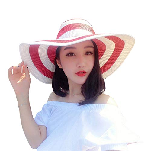 (Women's Beachwear Sun Hat Striped Straw Hat Floppy Foldable Big Brim Hat Cap (red&White))
