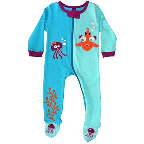 (Sozo Baby-Girls Newborn Fish Footed Romper, Aqua/Sky Blue/Pink, 18 Months)