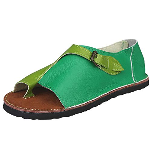 (LYN Star ◈ Women's Bohemia Flip Flops Summer Beach Buckle Strap Flat Sandals Comfort Walking Shoes Flat Sandals Green)