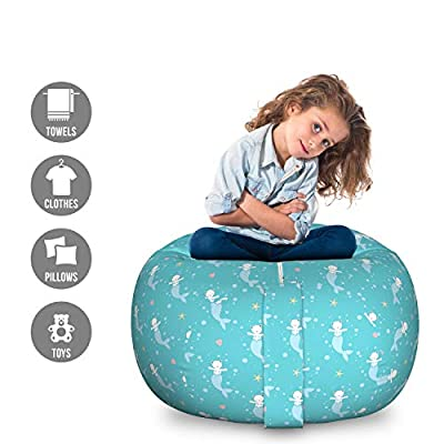 Lunarable Cat Mermaid Storage Toy Bag Chair, Cartoon with Underwater Animal Starfish and Shells, Stuffed Animal Organizer Washable Bag for Kids, Large Size, Multicolor: Kitchen & Dining