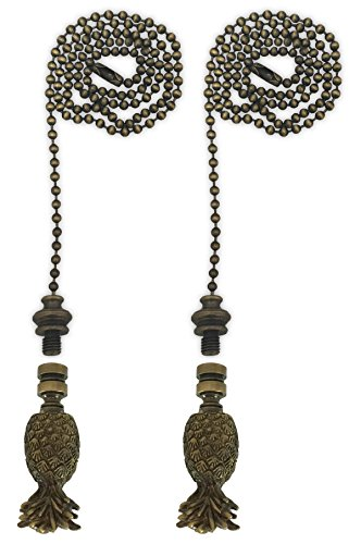 Royal Designs Fan Pull Chain with Trendy Resort Pineapple Finial - Antique Brass - Set of 2