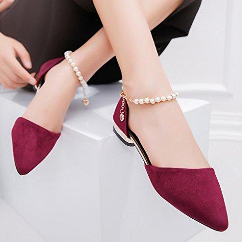 Women Flats Sandals Shoes Low Heel Bead Wedge Sandals Slippers Pointed Toe Flats Hemlock (US:7.5, Wine red)