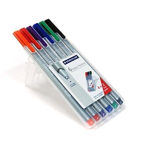 Staedtler Triplus Fineliner Pens 6 Color in Case, 0.3mm, Metal Clad Tip, Assorted 3-Pack by STAEDTLER
