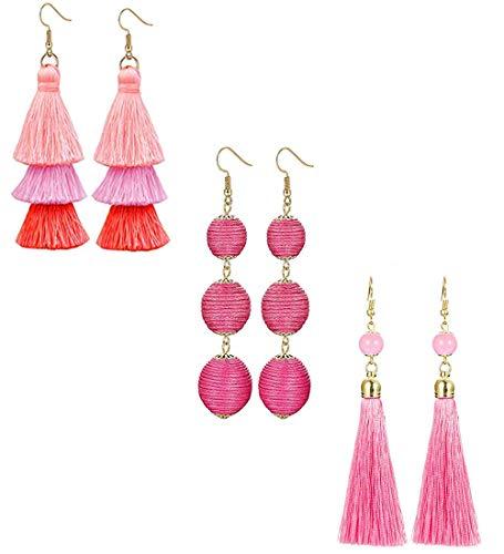 LOLIAS 3 Pairs Long Thread Tassel Earrings Set for Women Girls Beaded Fringe Tassel Earrings ()