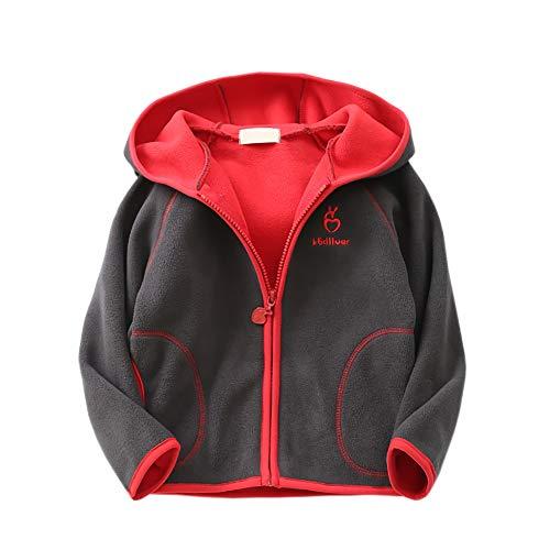Feidoog Kids Polar Fleece Jacket Hooded Long Sleeve Coat Zip up Outerwear, Dark Gray,5-6T