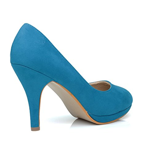 ShuWish UK Chip Turquoise Faux Suede Pumps Mid-High Heel Low Platform Office Court Shoes haaEkQ