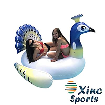 Xino Sports Deluxe Inflatable Pool Float, Lounger Giant Peacock Raft with 2 Sturdy Handles, Incredible Fun for The Whole Family! Floatie for Pools, Lakes or The Beach: Toys & Games