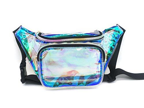 (Dolores Women Fashion Hologram Laser Waist Bag Clear Fanny Pack Zipper Waterproof Chest Pack Bum Bag Beach Purse)
