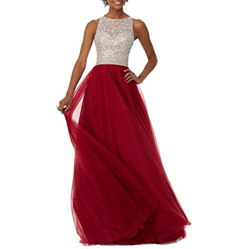 Womens Open Crystal Beauty Bridal Burgundy Sparkly Prom Evening Dress Back Beading Tulle Uwq5RB5H