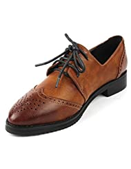 DADAWEN New Women's Ladies Oxford Pointed Toe Classic Casual Lace-up shoes
