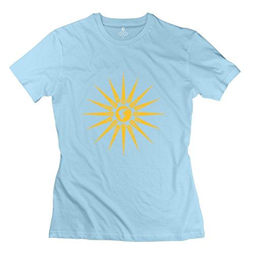 Novelty Printed Women Sun Sign Tee Shirts Size XS SkyBlue