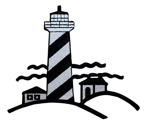 ID 1861Z Lighthouse Scene Patch Travel Nautical Embroidered Iron On Applique (Applique Lighthouse)