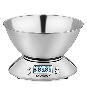 Magicook Digital Kitchen Scale Multifunctional Stainless Steel Electronic Food Scale with Removable Bowl Precise Measurement, Room Temperature, Timer, 11LB/5KG, LCD Display Backlight