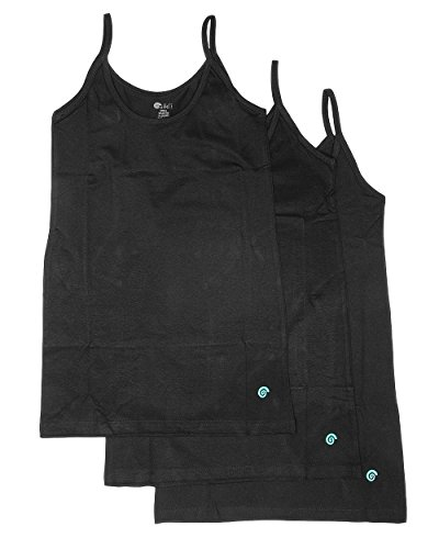 Premium Cotton Tank - Alki'i Premium 3-pack Spaghetti Strap Tank Top Cami Set, Black3Pack XL