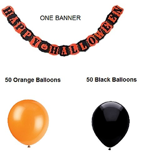 Jolly Jon Happy Halloween Banner with Balloons - 100 Orange & Black Balloons Set - Complete Halloween Decor Party Decorations - Garland Bundle]()