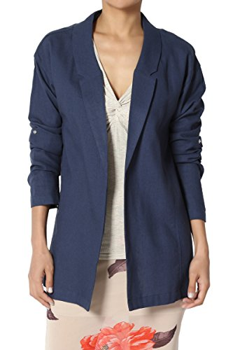TheMogan Junior's Casual Relaxed Fit Boyfriend Lined Blend Blazer Jacket Navy S by TheMogan (Image #1)