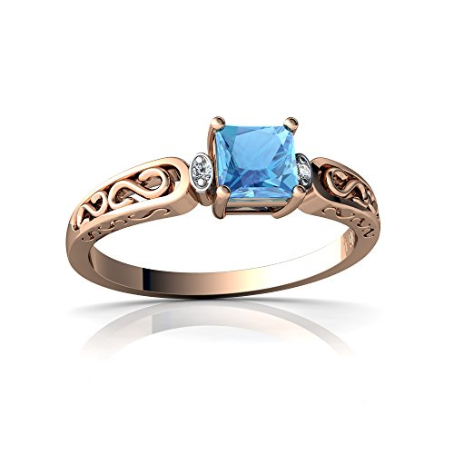 14kt Gold Blue Topaz and Diamond 4mm Square filligree Scroll Ring