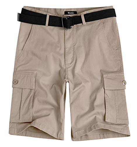 (Wantdo Men's Belted Relaxed Cotton Cargo Shorts 40 Light Khaki )