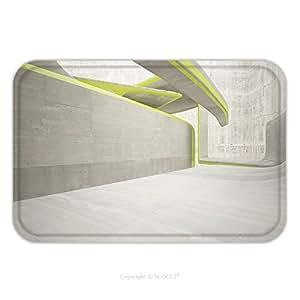 Franela de microfibra antideslizante suela de goma suave absorbente Felpudo alfombra alfombra alfombra vacío oscuro abstracto gris Concrete Room Interior suave con fondo amarillo líneas arquitectónicas 524947936para interior/