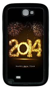 2014 Happy New Year Fireworks TPU Rubber Samsung Galaxy Note 2/ Note II/ N7100 Case Cover - Black
