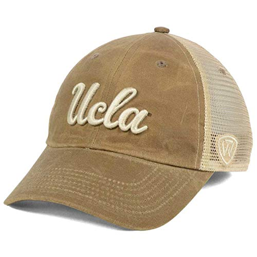 Top of the World UCLA Bruins Script Wordmark Logo Mudd Slouch Mesh Strapback Dad Cap Hat-Tan
