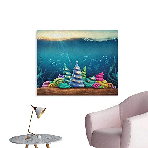 Anzhutwelve Ocean Wall Picture Decoration Underwater Fantasy Kingdom with Shell Houses Water Bubbles Cartoon Illustration Print Poster Print Teal Brown W28 xL20