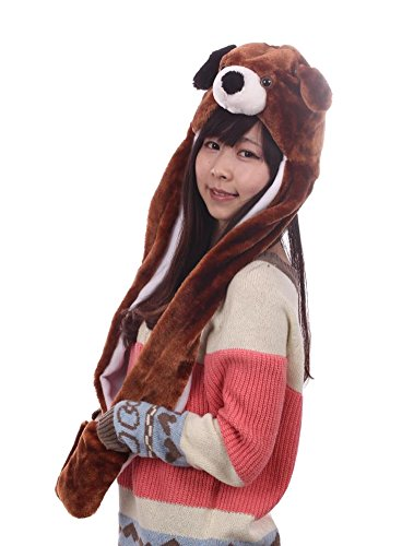 Tonwhar Cartoon Animal Hood Hoodie Hat with Attached Scarf and Mittens (Brown Dog) (Hood Costume Accessories)