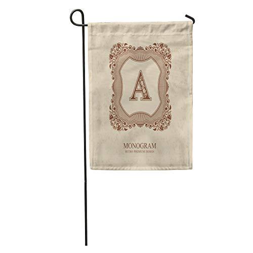 (Semtomn Garden Flag Flourishes Calligraphic Monogram Emblem Luxury Elegant Line Royal Sign Restaurant Home Yard Decor Barnner Outdoor Stand 12x18 Inches Flag)