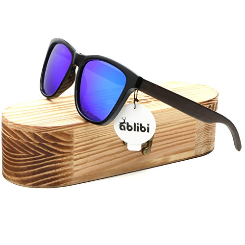 Ablibi Bamboo Wooden Wayfarer Sunglasses Polarized Driving Eyewear in Wood Box (Zebra Wood, - Glasses Popular For Men Most Frames