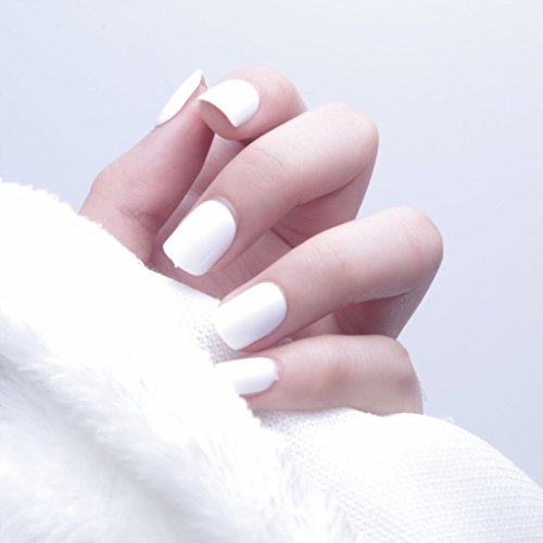 24 Pcs Simple Solid Different Colors Oval False Nail with Glue Stickers and Mini File (white)