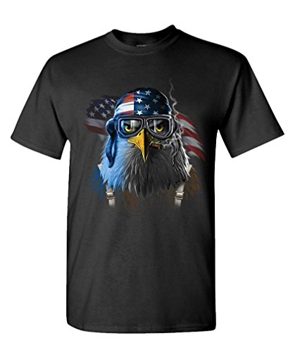 FREEDOM FIGHTER eagle usa freedom america - Mens Cotton T-Shirt, L, Black (Freedom Eagle T-shirt)