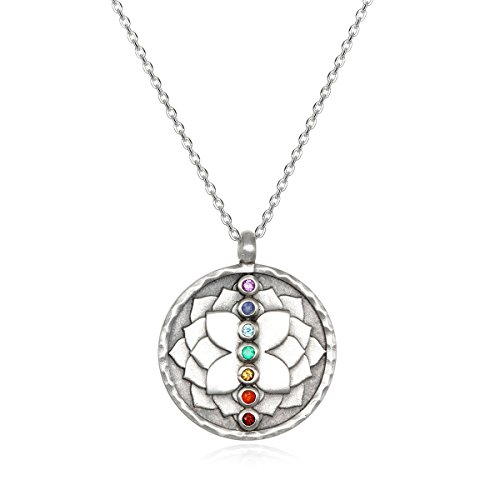 Satya Jewelry Women's Multi Gemstone Silver Chakra Pendant Necklace 18-inch, One Size ()