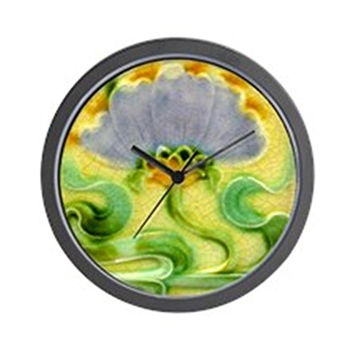"CafePress - Art Nouveau Floral Tile - Unique Decorative 10"" Wall Clock"