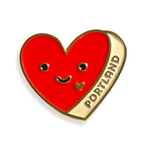Night Owl Paper Goods Portland Heart Enamel Pin, Gold