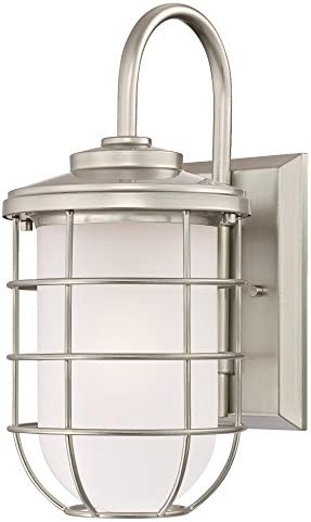Westinghouse Lighting 6348000 Ferry One-Light Outdoor Wall Fixture, Brushed Nickel Finish with Frosted Glass,